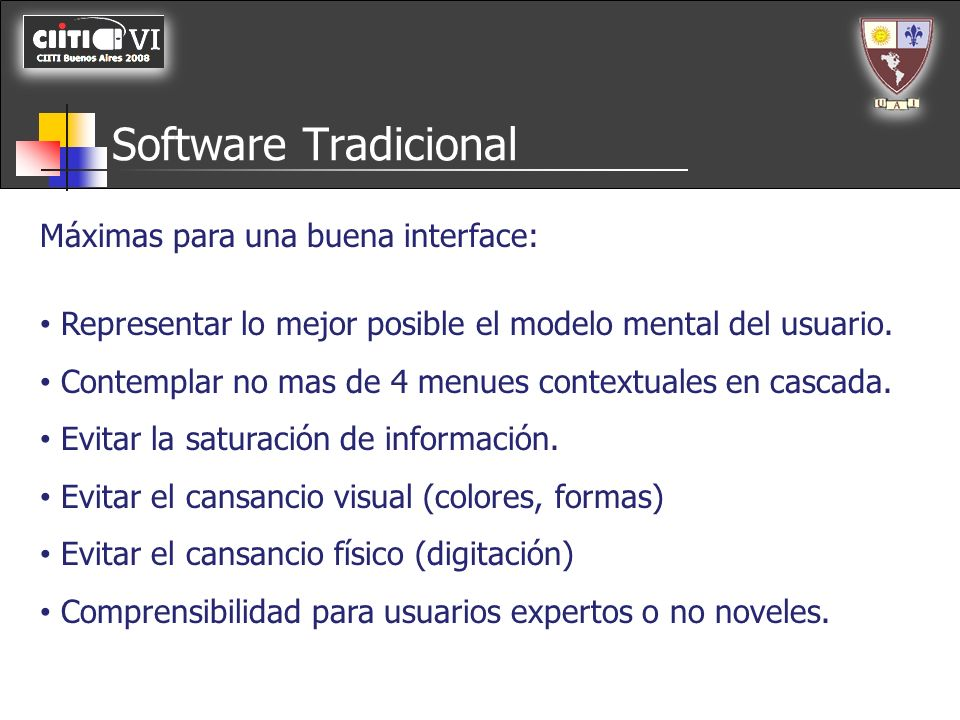 Software Tradicional Máximas para una buena interface: