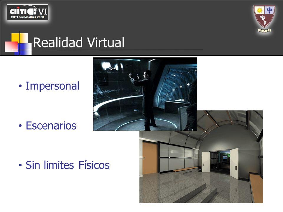 Realidad Virtual Impersonal Escenarios Sin limites Físicos