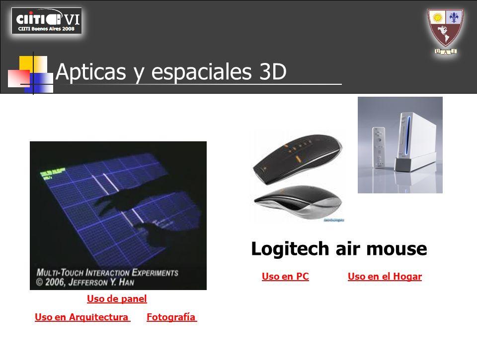 Apticas y espaciales 3D Logitech air mouse Uso en PC Uso en el Hogar