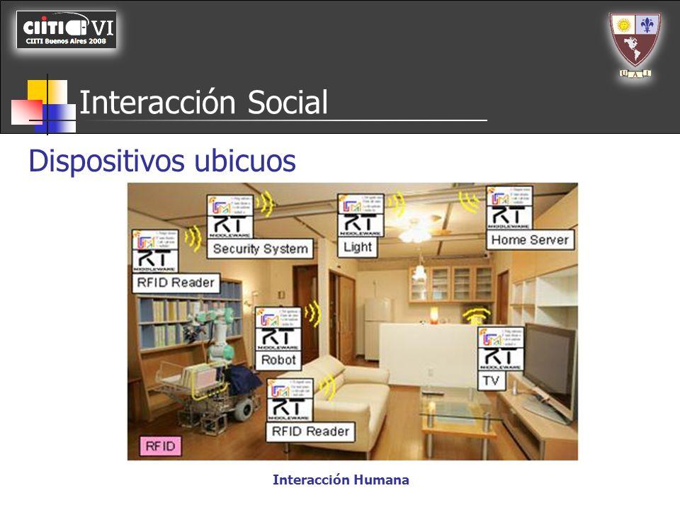Interacción Social Dispositivos ubicuos Interacción Humana