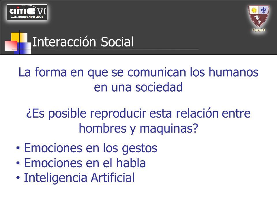 Interacción Social La forma en que se comunican los humanos en una sociedad. ¿Es posible reproducir esta relación entre hombres y maquinas