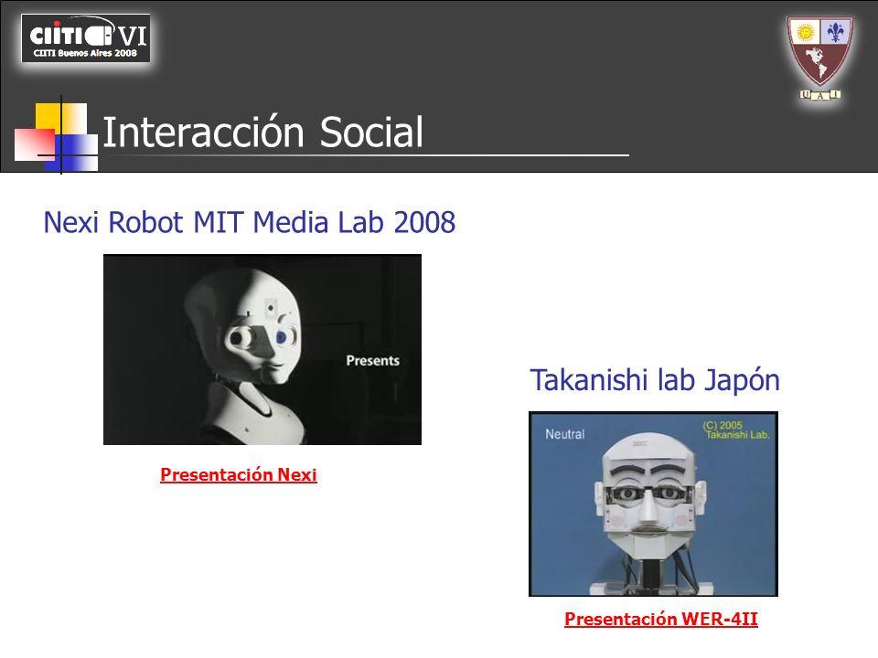 Interacción Social Nexi Robot MIT Media Lab 2008 Takanishi lab Japón