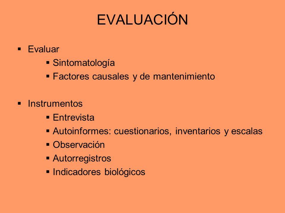 EVALUACIÓN Evaluar Sintomatología Factores causales y de mantenimiento