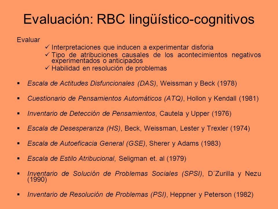 Evaluación: RBC lingüístico-cognitivos