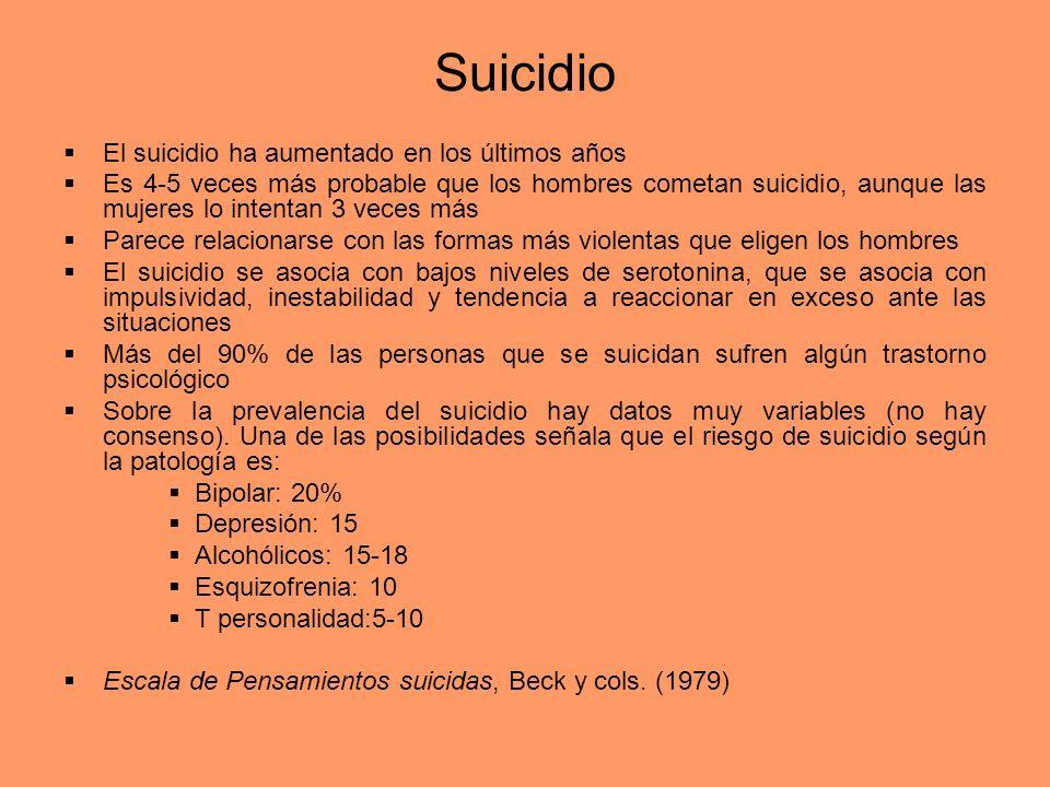 Suicidio El suicidio ha aumentado en los últimos años