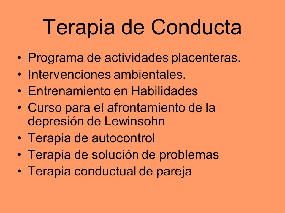Terapia de Conducta Programa de actividades placenteras.