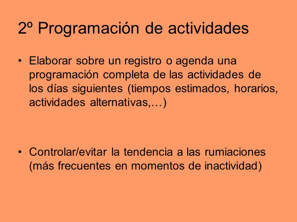 2º Programación de actividades