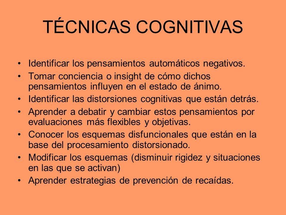 TÉCNICAS COGNITIVAS Identificar los pensamientos automáticos negativos.
