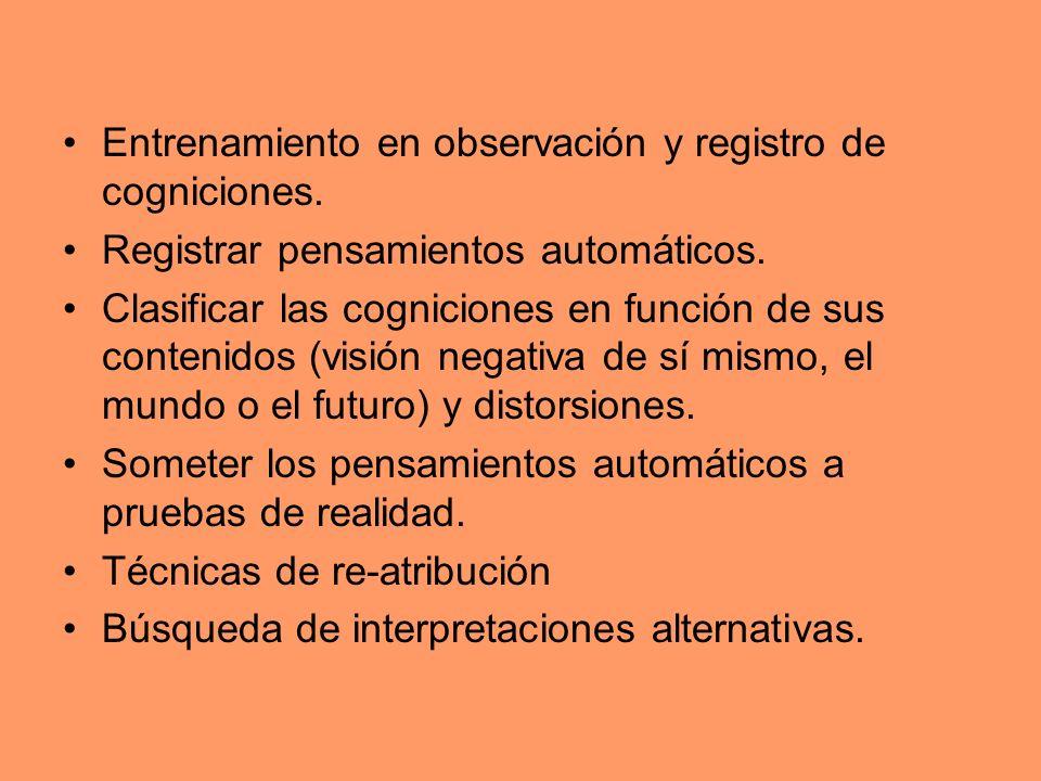 Entrenamiento en observación y registro de cogniciones.