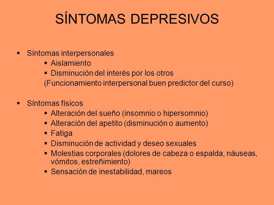 SÍNTOMAS DEPRESIVOS Síntomas interpersonales Aislamiento