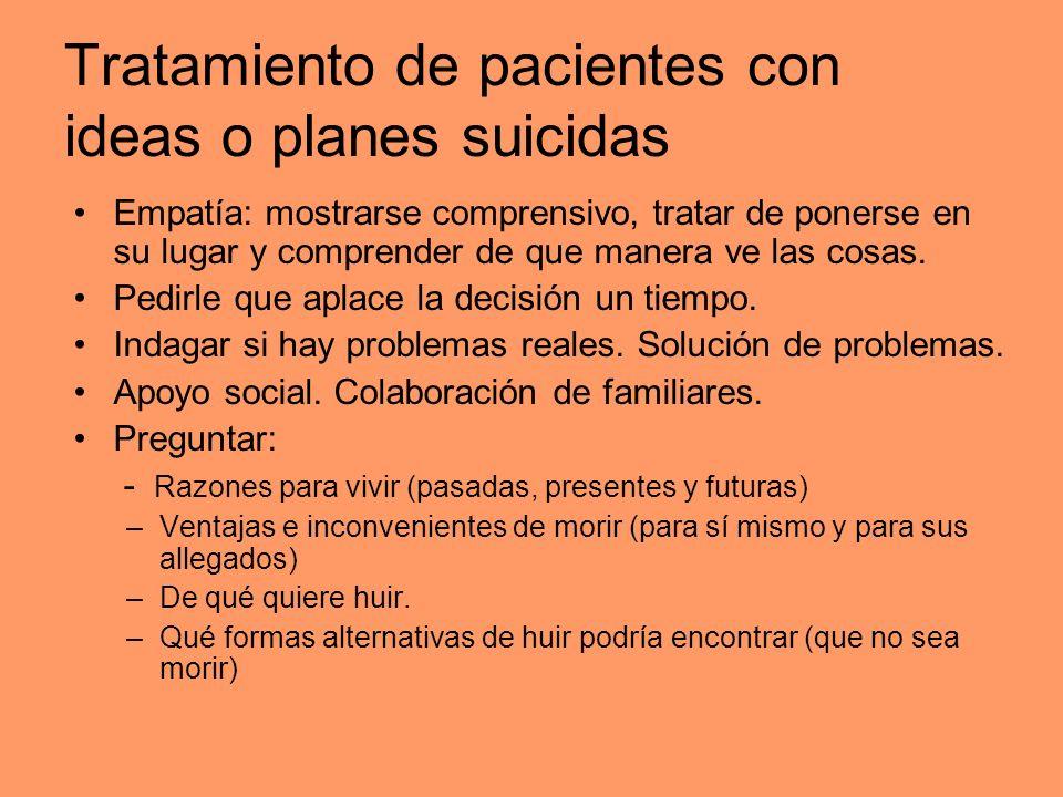 Tratamiento de pacientes con ideas o planes suicidas