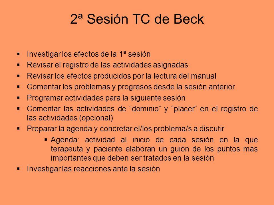 2ª Sesión TC de Beck Investigar los efectos de la 1ª sesión