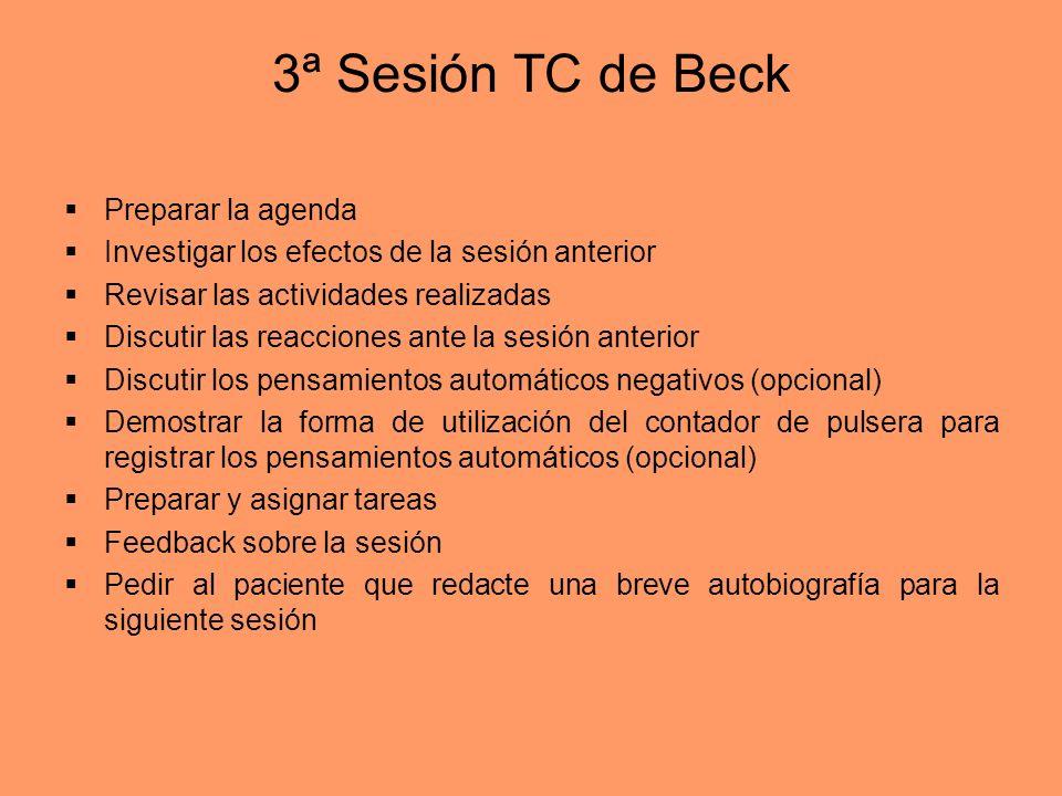 3ª Sesión TC de Beck Preparar la agenda