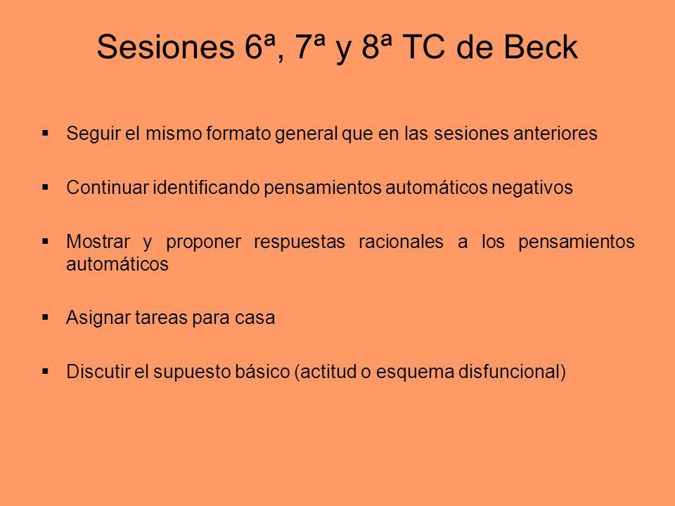 Sesiones 6ª, 7ª y 8ª TC de Beck
