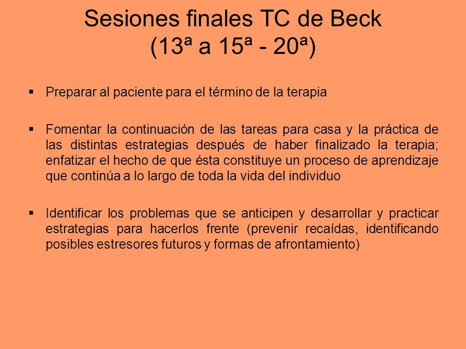 Sesiones finales TC de Beck (13ª a 15ª - 20ª)