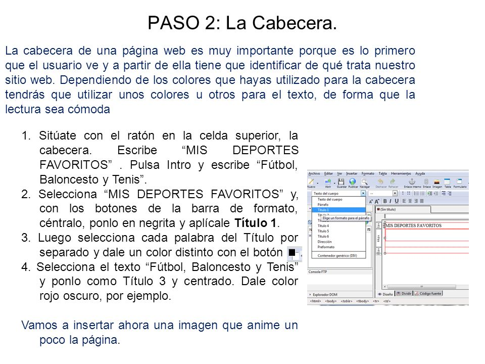 PASO 2: La Cabecera.