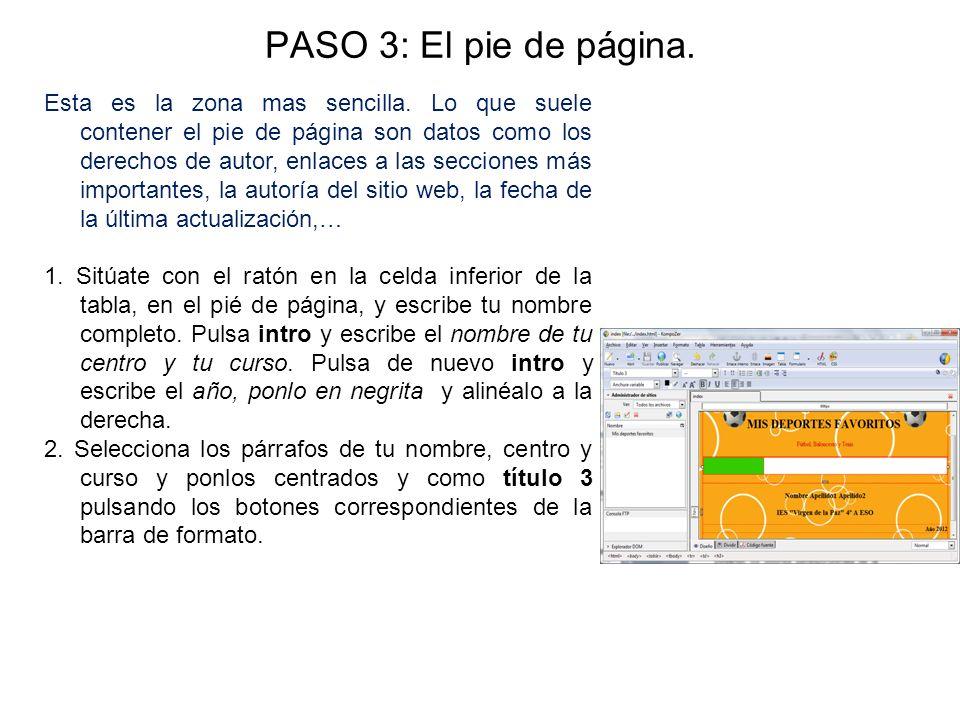 PASO 3: El pie de página.