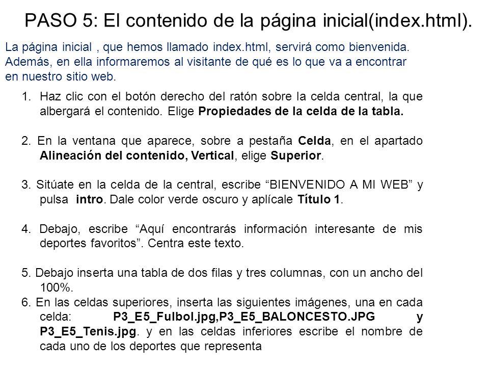 PASO 5: El contenido de la página inicial(index.html).