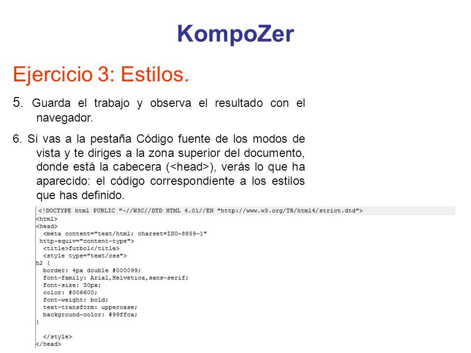 KompoZer Ejercicio 3: Estilos.