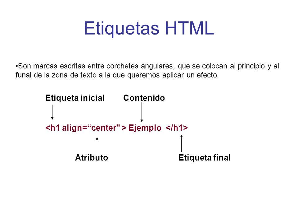 Etiquetas HTML Etiqueta inicial Contenido