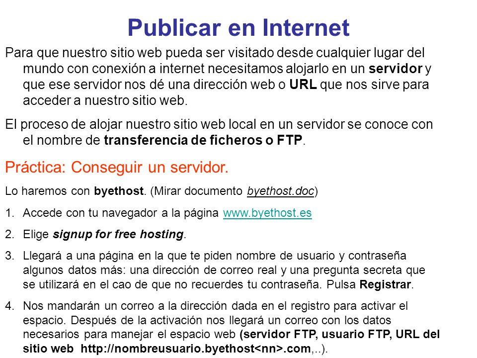Publicar en Internet Práctica: Conseguir un servidor.