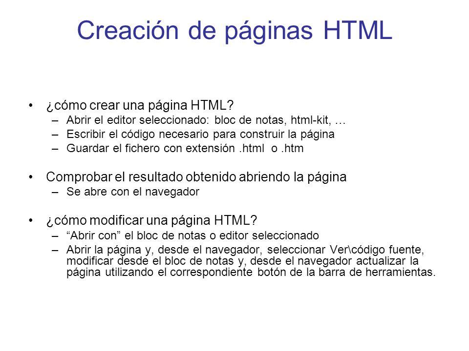 Creación de páginas HTML