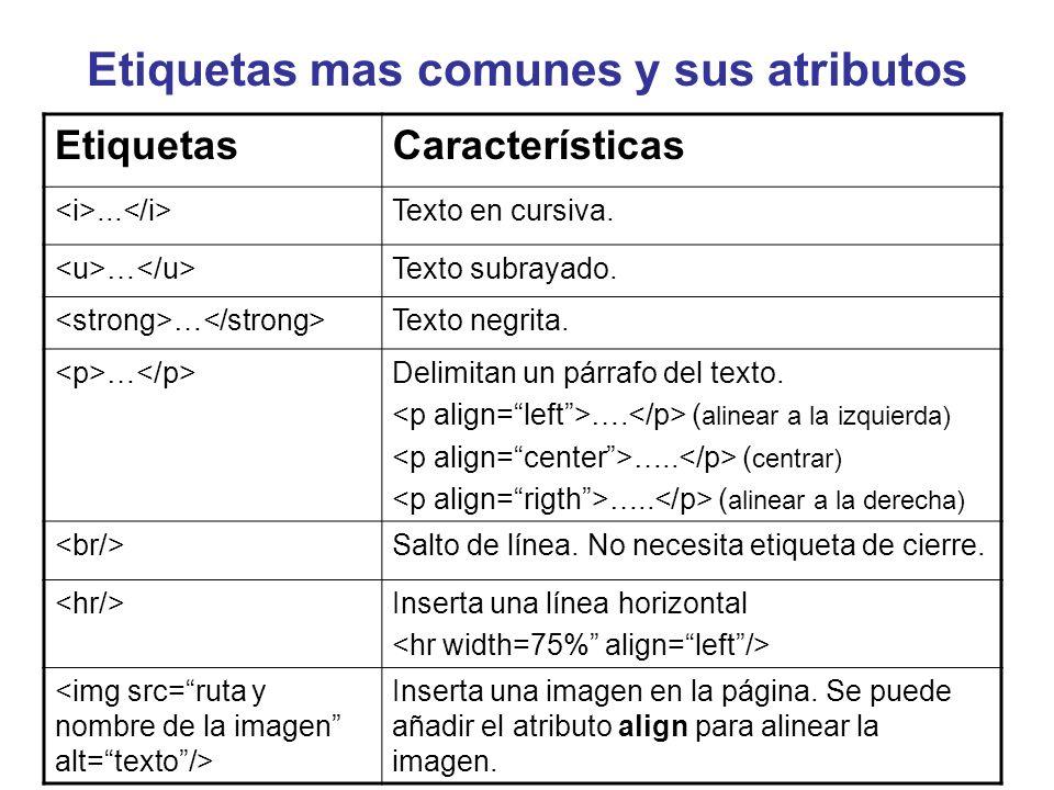 Etiquetas mas comunes y sus atributos