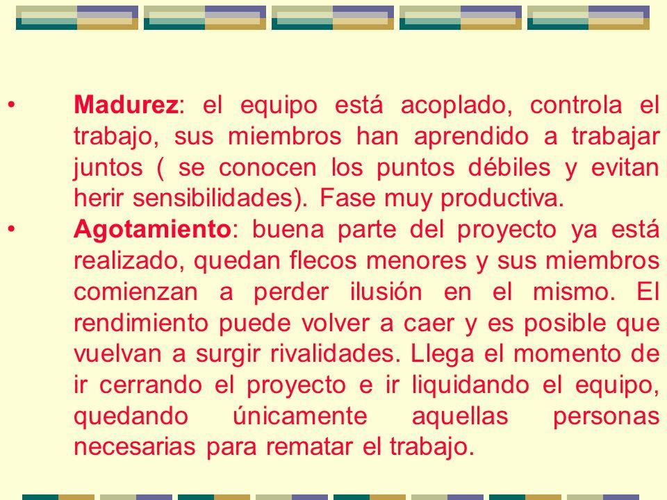 Madurez: el equipo está acoplado, controla el