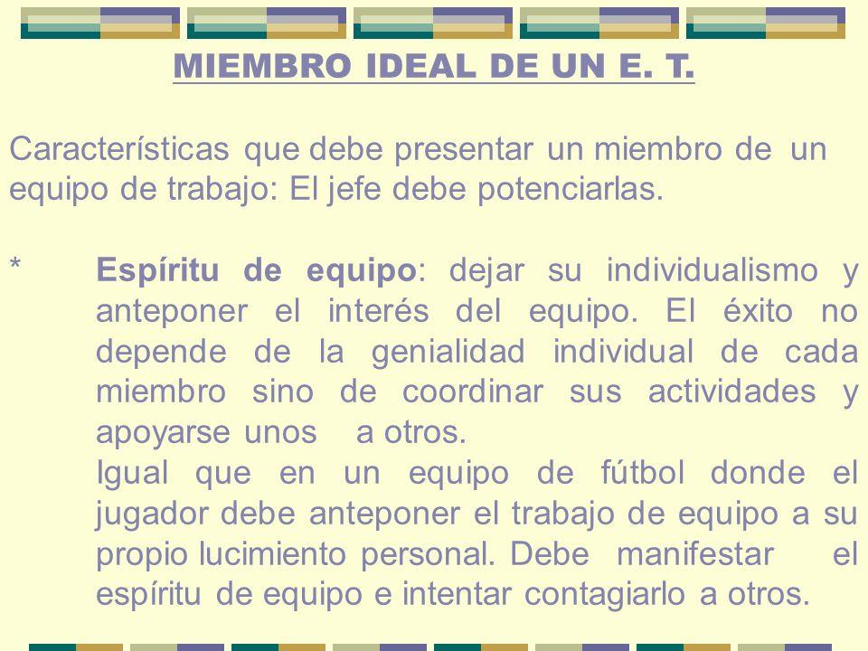 MIEMBRO IDEAL DE UN E. T. Características que debe presentar un miembro de un equipo de trabajo: El jefe debe potenciarlas.