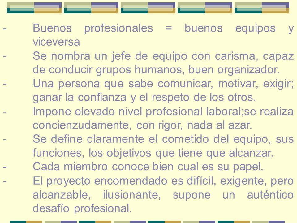 - Buenos profesionales = buenos equipos y viceversa