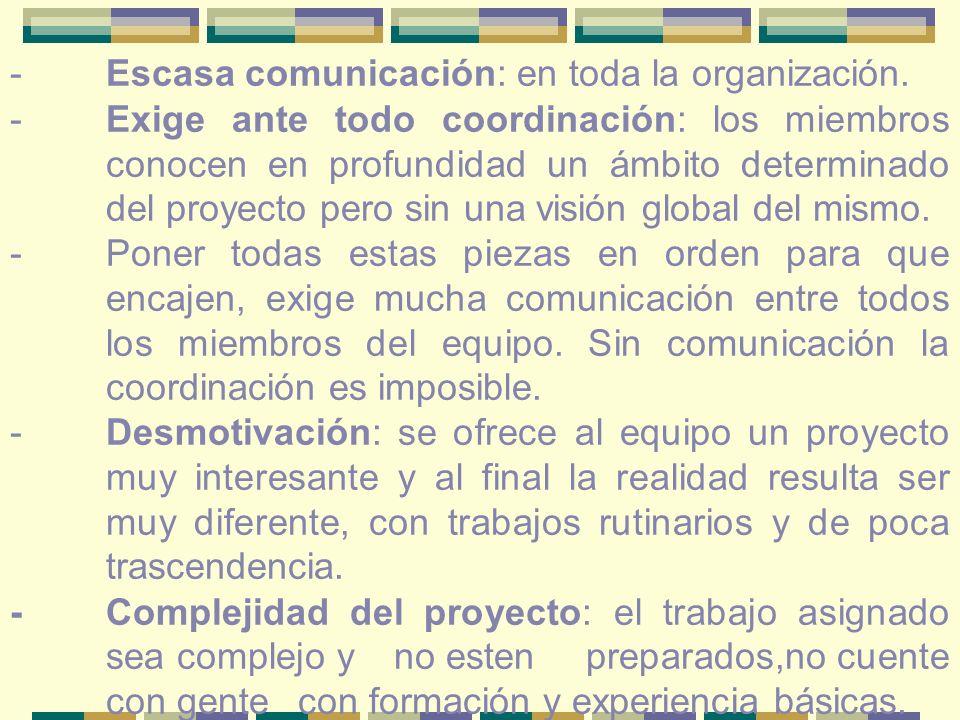 - Escasa comunicación: en toda la organización.