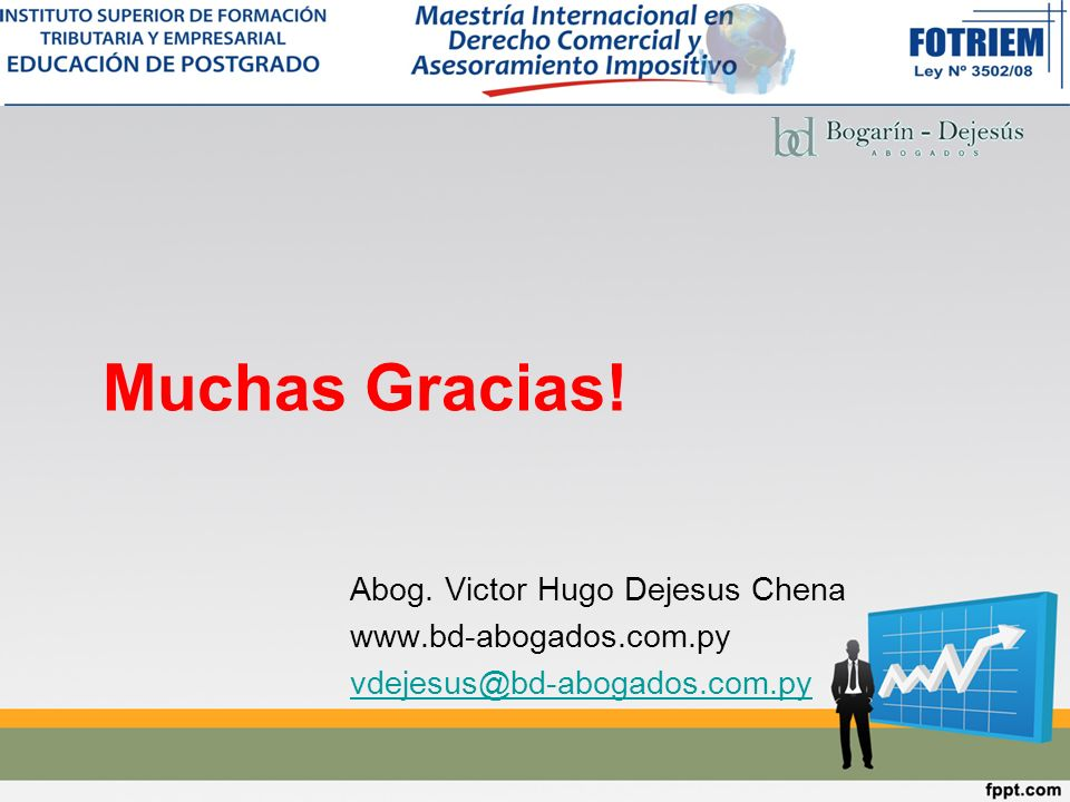 Muchas Gracias! Abog. Victor Hugo Dejesus Chena www.bd-abogados.com.py