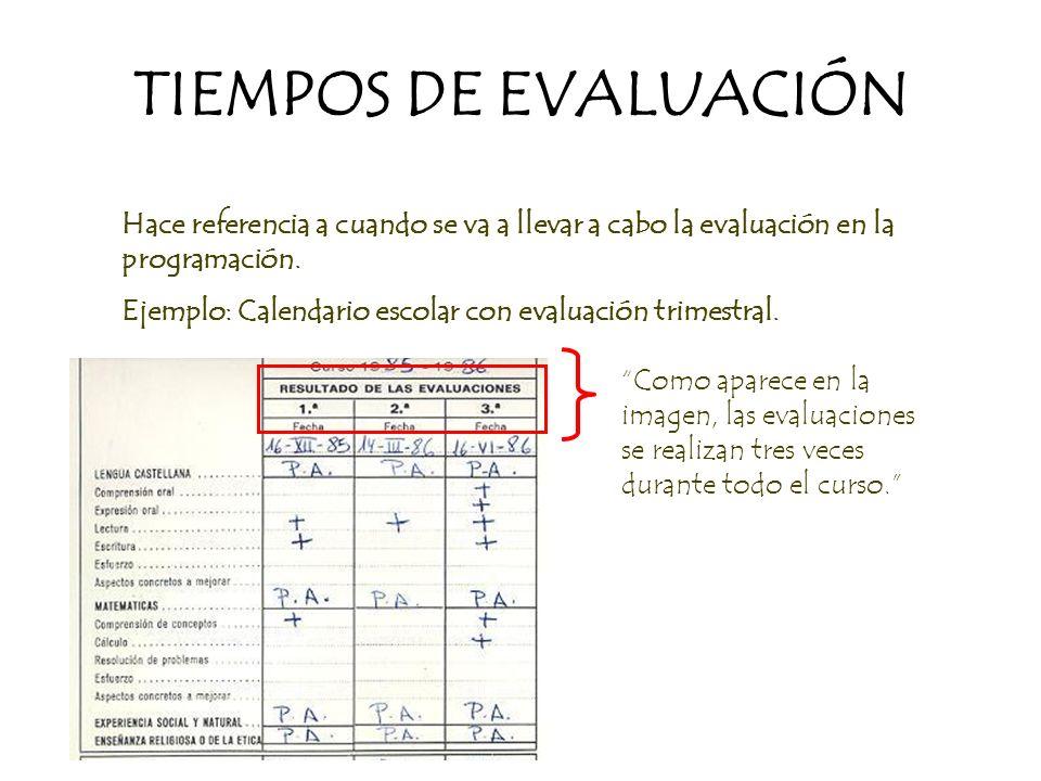 TIEMPOS DE EVALUACIÓN Hace referencia a cuando se va a llevar a cabo la evaluación en la programación.