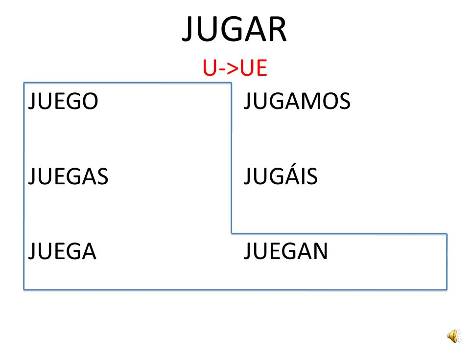 JUGAR U->UE JUEGO JUEGAS JUEGA JUGAMOS JUGÁIS JUEGAN
