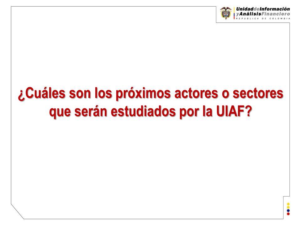 ¿Cuáles son los próximos actores o sectores que serán estudiados por la UIAF