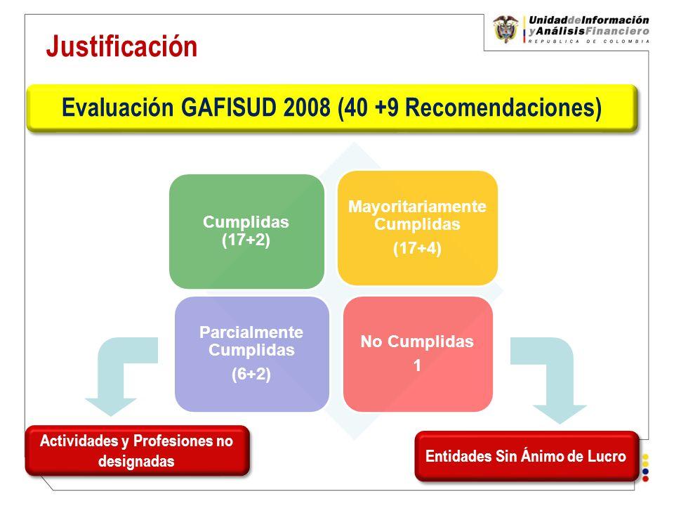Evaluación GAFISUD 2008 (40 +9 Recomendaciones)