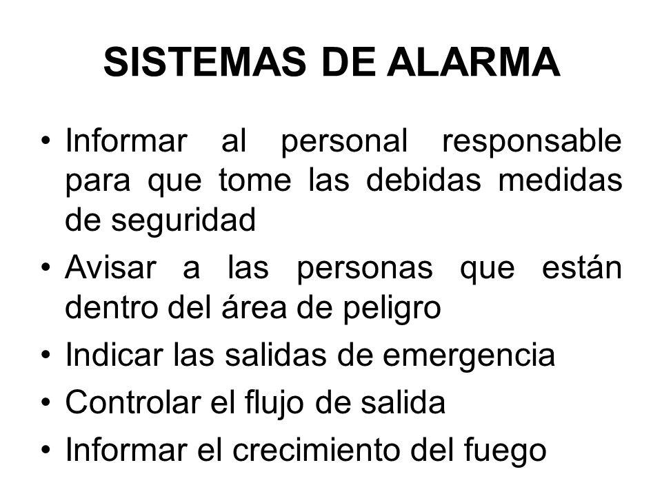 SISTEMAS DE ALARMA Informar al personal responsable para que tome las debidas medidas de seguridad.