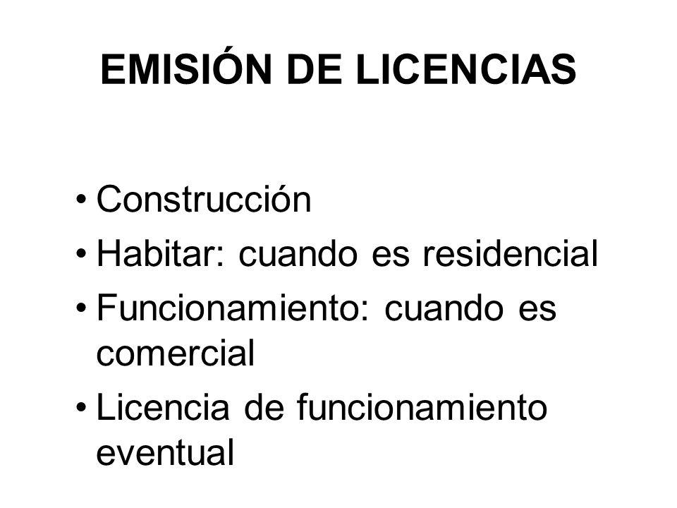EMISIÓN DE LICENCIAS Construcción Habitar: cuando es residencial