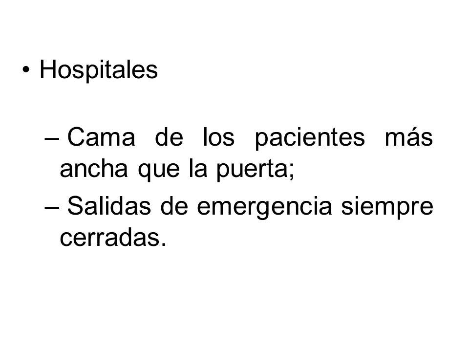 Hospitales Cama de los pacientes más ancha que la puerta; Salidas de emergencia siempre cerradas.