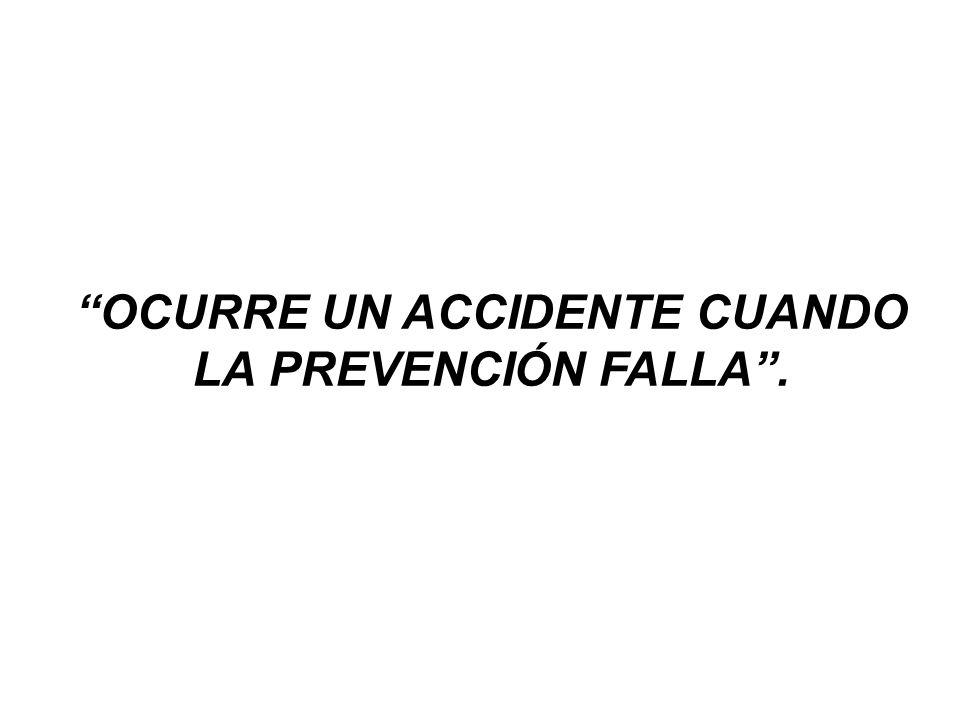 OCURRE UN ACCIDENTE CUANDO LA PREVENCIÓN FALLA .