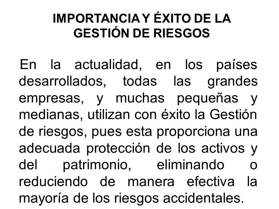 IMPORTANCIA Y ÉXITO DE LA GESTIÓN DE RIESGOS