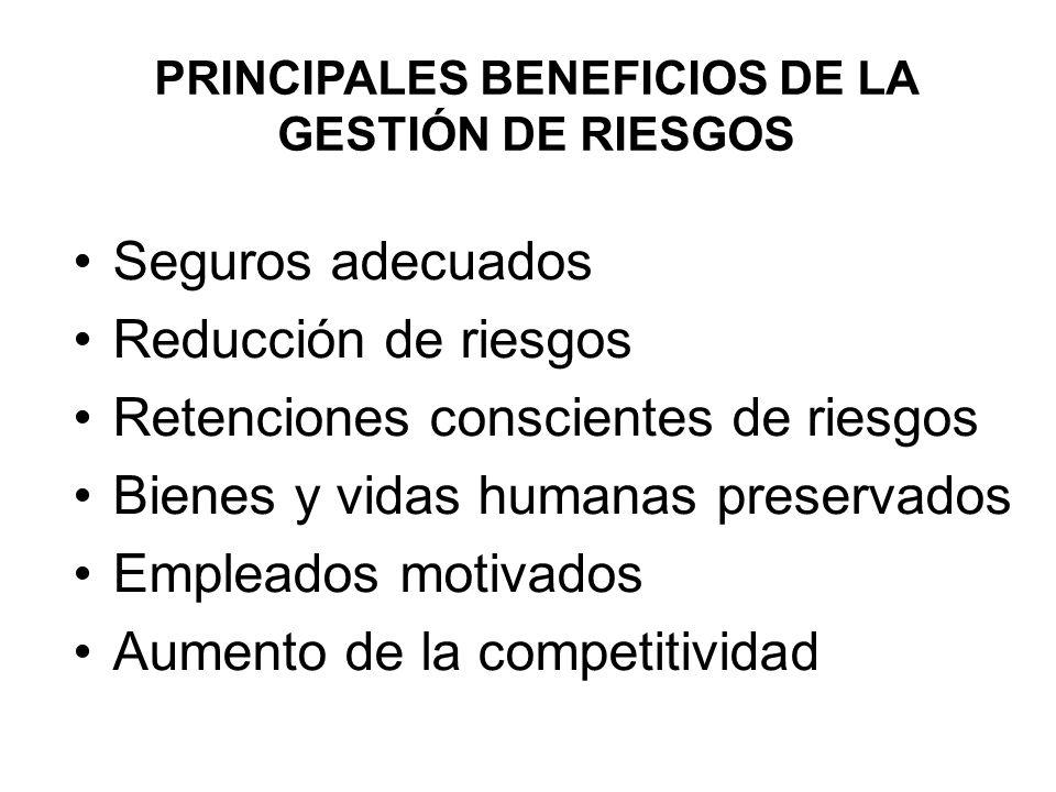 PRINCIPALES BENEFICIOS DE LA GESTIÓN DE RIESGOS