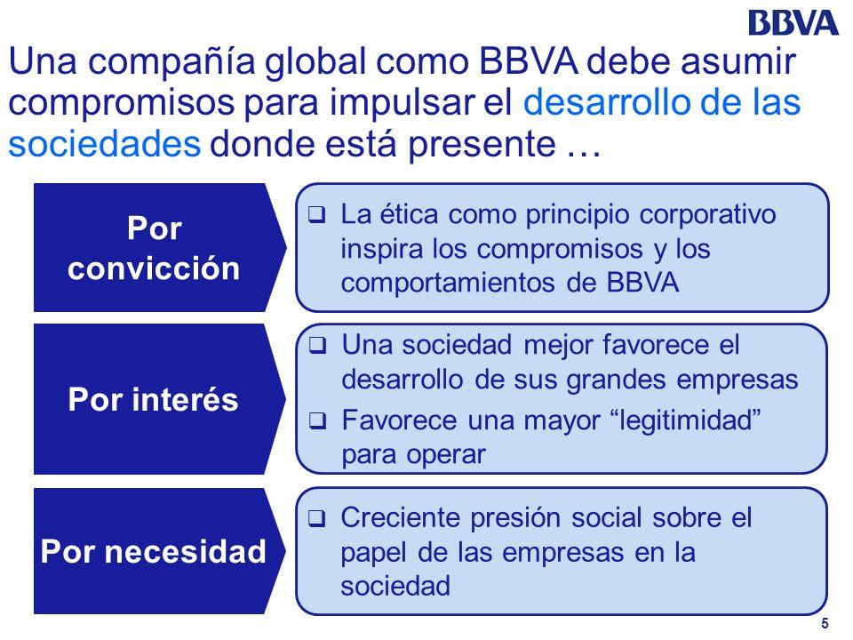 Una compañía global como BBVA debe asumir compromisos para impulsar el desarrollo de las sociedades donde está presente …