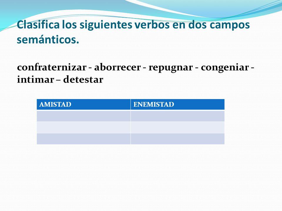 Clasifica los siguientes verbos en dos campos semánticos.
