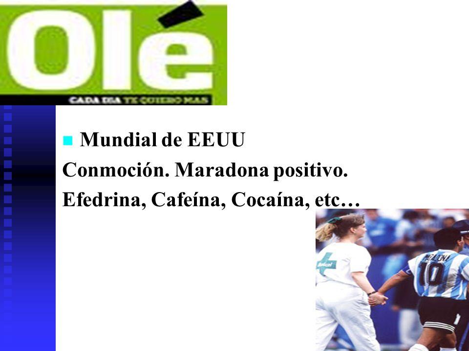 Mundial de EEUU Conmoción. Maradona positivo. Efedrina, Cafeína, Cocaína, etc…