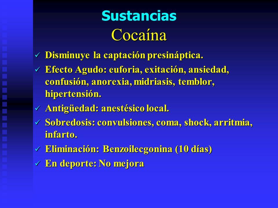 Cocaína Sustancias Disminuye la captación presináptica.