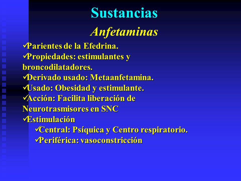 Sustancias Anfetaminas Parientes de la Efedrina.