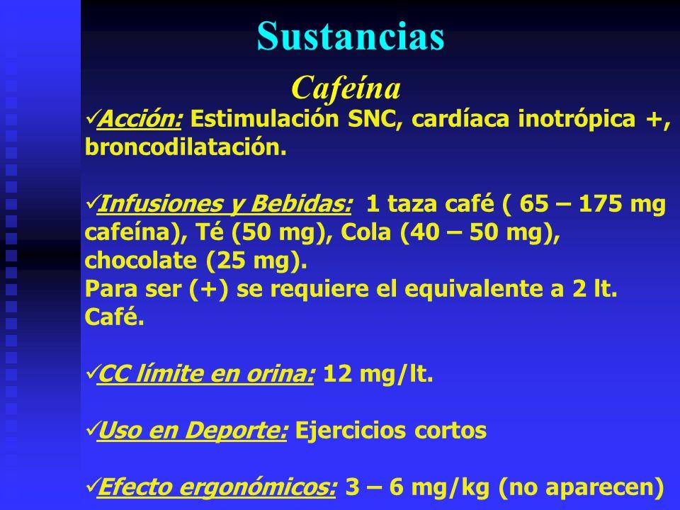 Sustancias Cafeína. Acción: Estimulación SNC, cardíaca inotrópica +, broncodilatación.