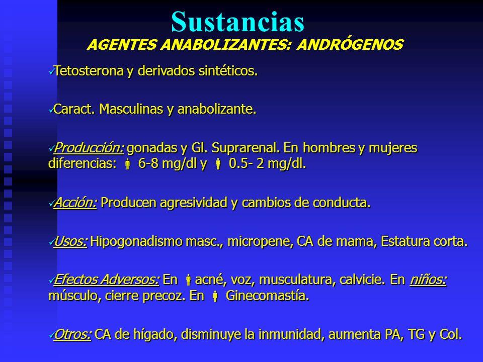 Sustancias AGENTES ANABOLIZANTES: ANDRÓGENOS