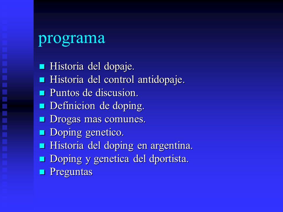 programa Historia del dopaje. Historia del control antidopaje.